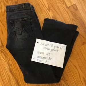 7 for all Mankind jeans sz 27 flare black A pocket